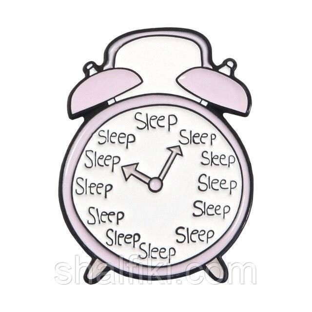 """""""Часы будильник Sleep"""" значок (пин) металлический"""