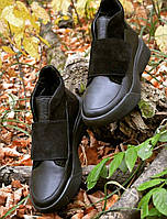 Женские черные ботинки натуральная кожа