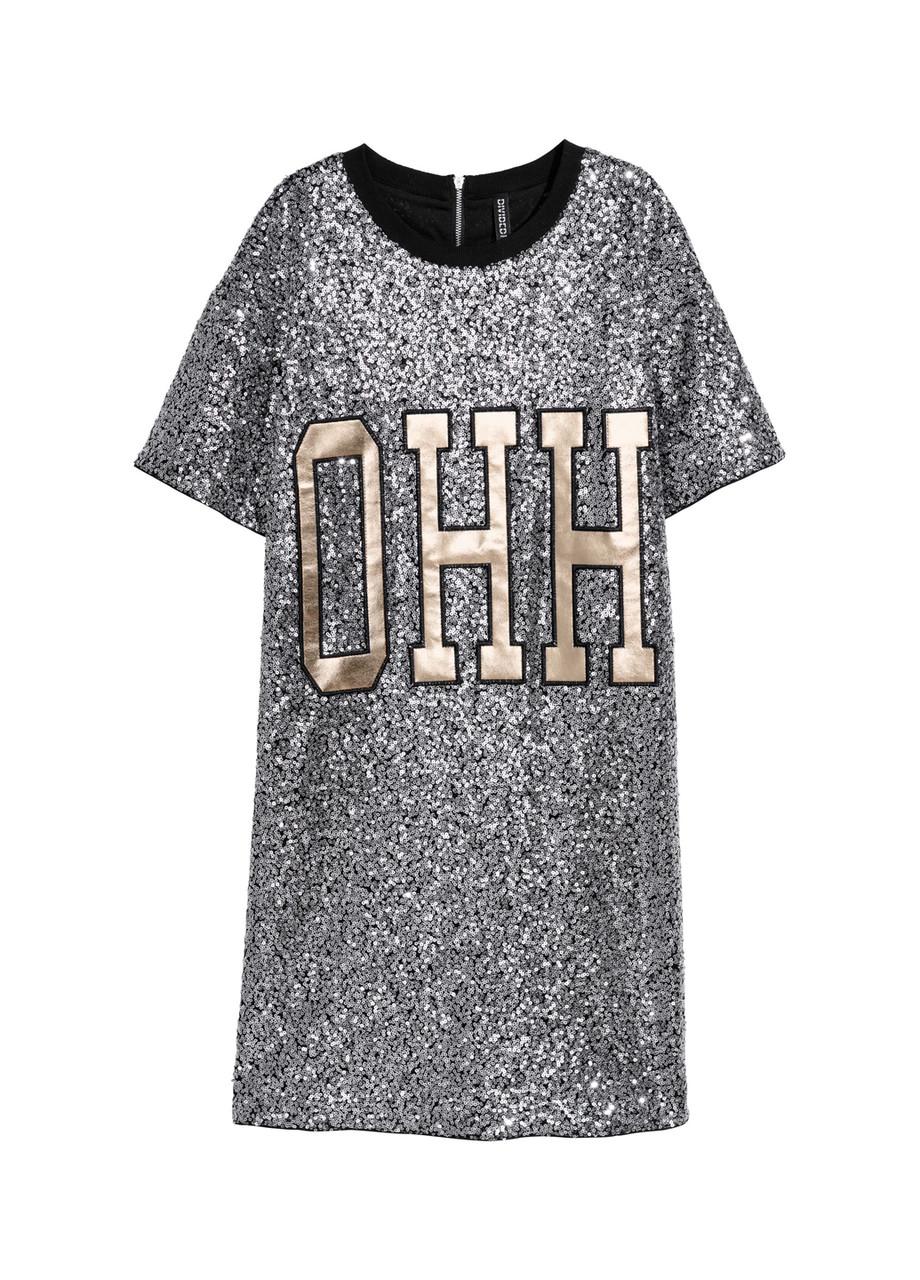 Платье H&M 38(165/88) серо-черный