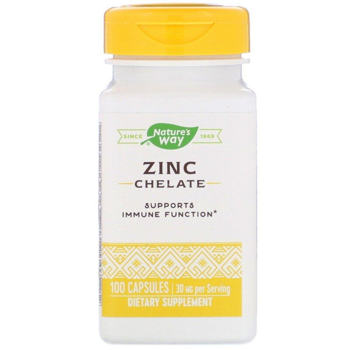 Цинк Хелат, Zinc Chelate, Nature's Way, 30 мг, 100 капсул