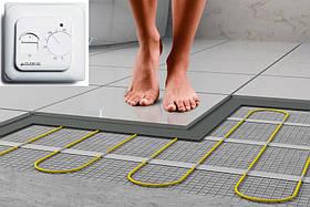 Гріючий мат двожильний, тепла підлога мати, мат електричний резистивний, тонкий нагрівальний кабель під плитку
