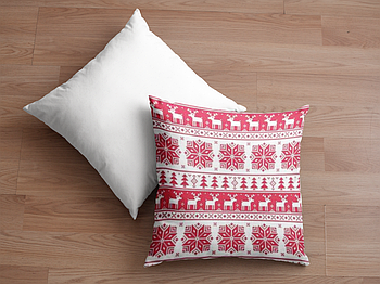 Декоративная подушка для сублимации с новогодним принтом 35х35см.NP005
