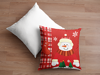 Декоративная подушка для сублимации с новогодним принтом 35х35см.NP012
