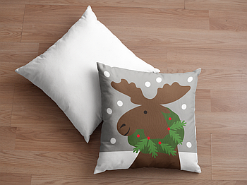 Декоративная подушка для сублимации с новогодним принтом 35х35см. NP017