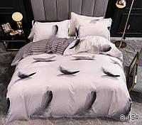 Двуспальный Евро комплект постельного белья Сатин Люкс с компаньоном S454