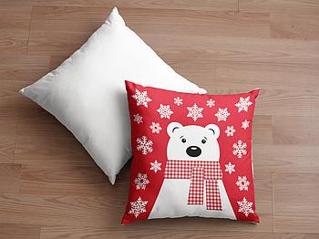 Декоративная подушка для сублимации с новогодним принтом 35х35см. NP028