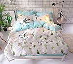 Двоспальний Євро комплект постільної білизни Сатин Люкс з компаньйоном S455, фото 2