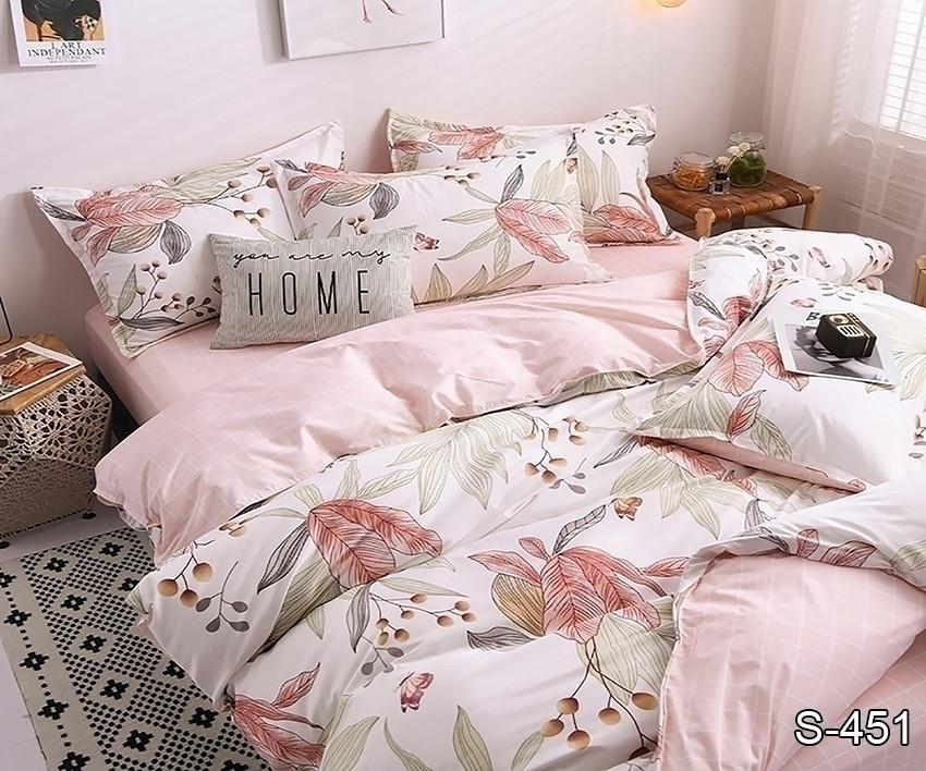 Двуспальный ЕВРО МАКСИ комплект постельного белья Сатин Люкс с компаньоном S451