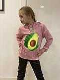 Толстовка с капюшоном тёплая для девочек-подростков оптом р.8-12 лет, фото 2
