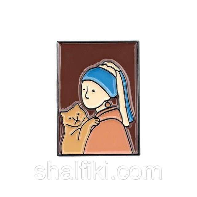 """""""Картина Девушка с жемчужной серёжкой и котом"""" значок (пин) металлический"""