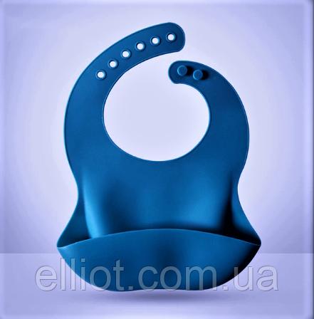 Слюнявчик силиконовый с карманом Синий
