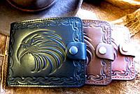 Компактное мужское портмоне из натуральной кожи №1 Орёл