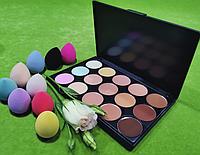 Палитра корректоров 15 цветов полноцветные + Спонж, фото 1