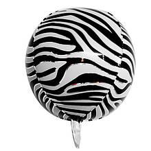 """Фольгована кулька 4D сфера зебра 22"""" (55см) Китай"""