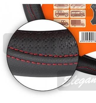 Чохол на кермо ШКІРА L (39-40см) чорний-червона нитка Elegant 105687