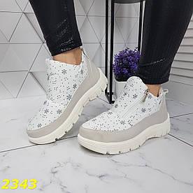 Дутики ботинки зимние на меху белые