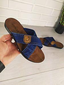 """Шлепанцы мужские, синие """"Krase"""" текстильные, шлепки мужские, тапочки мужские, вьетнамки мужские, обувь летняя"""