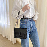 Женская классическая сумочка черная кросс-боди на цепочке клатч черный, фото 3