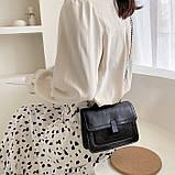 Женская классическая сумочка черная кросс-боди на цепочке клатч черный, фото 4