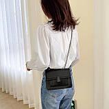 Женская классическая сумочка черная кросс-боди на цепочке клатч черный, фото 2
