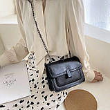 Женская классическая сумочка черная кросс-боди на цепочке клатч черный, фото 5