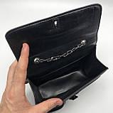 Женская классическая сумочка черная кросс-боди на цепочке клатч черный, фото 6