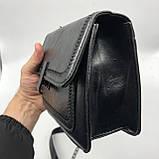Женская классическая сумочка черная кросс-боди на цепочке клатч черный, фото 7