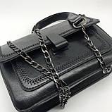 Женская классическая сумочка черная кросс-боди на цепочке клатч черный, фото 9