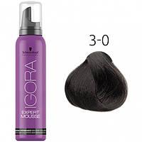 Тонирующий мусс для волос Schwarzkopf Professional Igora Expert Mousse, 100 мл 3-0 Темный коричневый натуральный