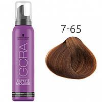 Тонирующий мусс для волос Schwarzkopf Professional Igora Expert Mousse, 100 мл 7-65 Средний русый шоколадный золотистый