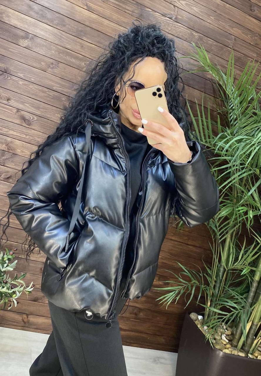Куртка пуховик з екошкіри в стилі ZARINA