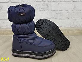 Дитячі дутики чоботи на натуральному хутрі овчині зима сині 26-31р