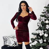 Коктейльное бордовое бархатное платье, фото 1
