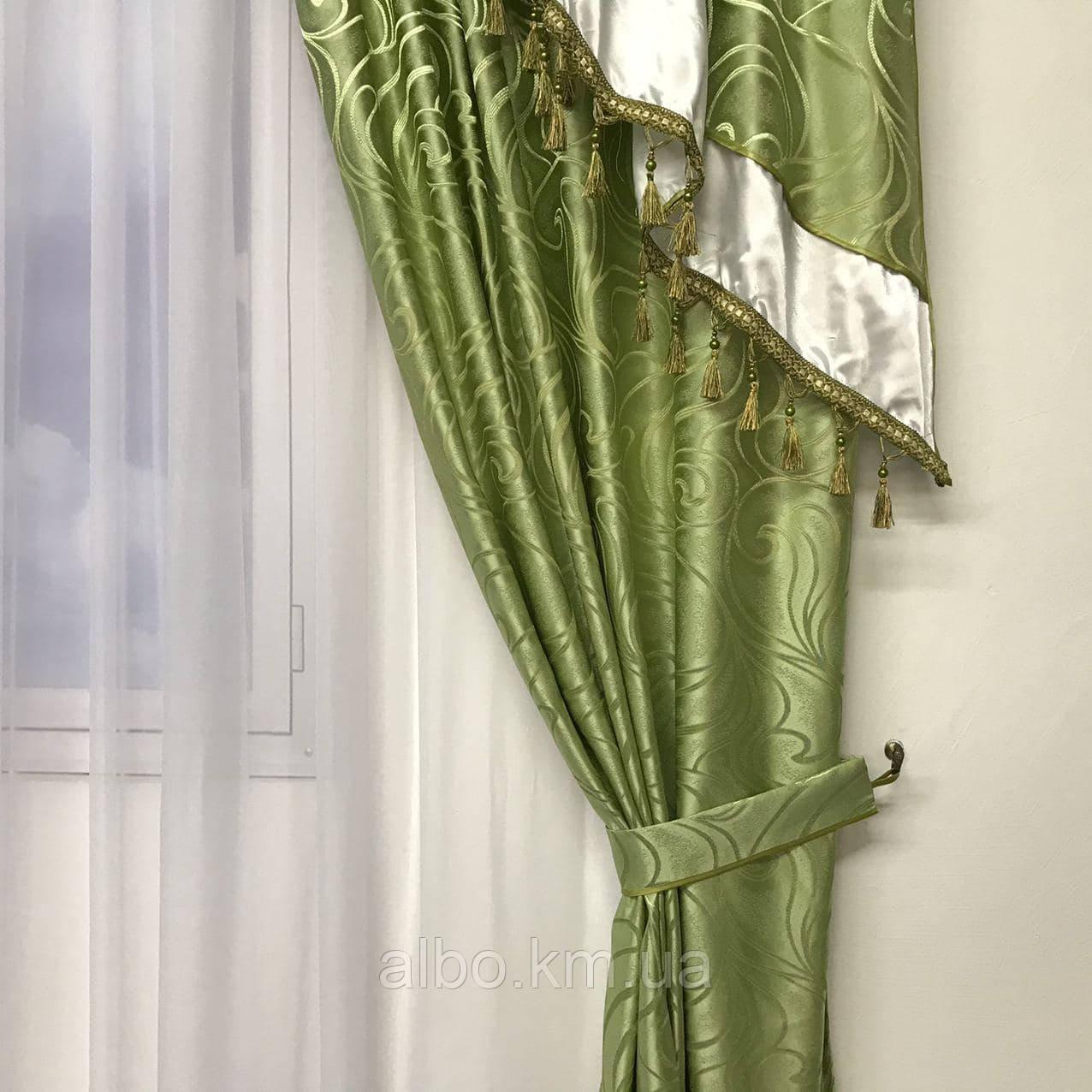 Шторы для зала жаккард 150х270 cm (2 шт) с ламбрекеном ALBO зелений (LS240-29)