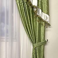 Шторы для зала жаккард 150х270 cm (2 шт) с ламбрекеном ALBO зелений (LS240-29), фото 1