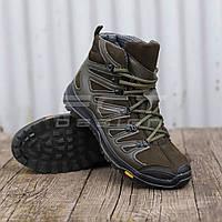 Ботинки зимние Викинг кожа полушерсть хаки, фото 1