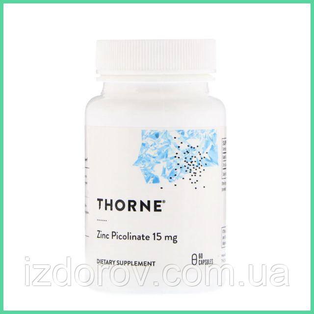 Thorne Research, Цинк пиколинат, 15 мг, 60 капсул