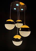Сучасна світлодіодна люстра золото на 4 підвіса 60W, фото 1