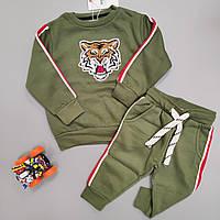 """Теплий крутий костюм для хлопчика Minoti """"Тигр"""" 3TODJGSET2 Хакі"""