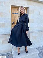 Стильное женское платье миди с поясом