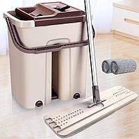 Швабра с ведром Scratch Anet (ведро 38х36х23 см.) бежево коричневая | відро для миття підлоги з віджимом