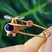 Золотая булавка для мальчика Вертолет - Детская золотая булавочка для мальчика, фото 5