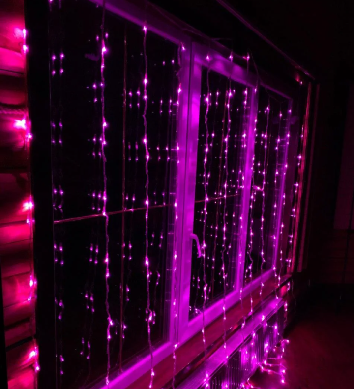 "Уличная Cветодиодная гирлянда Занавес ""Waterfall"" Водопад 3х2 метра Розовый, 480 LED прозрачный силикон"