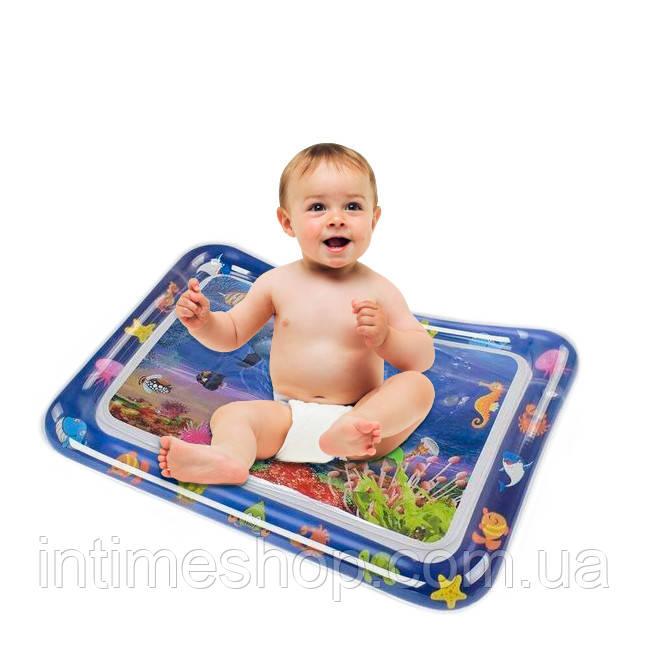 """Дитячий водний килимок """"прямокутний з дельфінами"""" надувний водяній акваковрік для дітей з водою і рибками"""