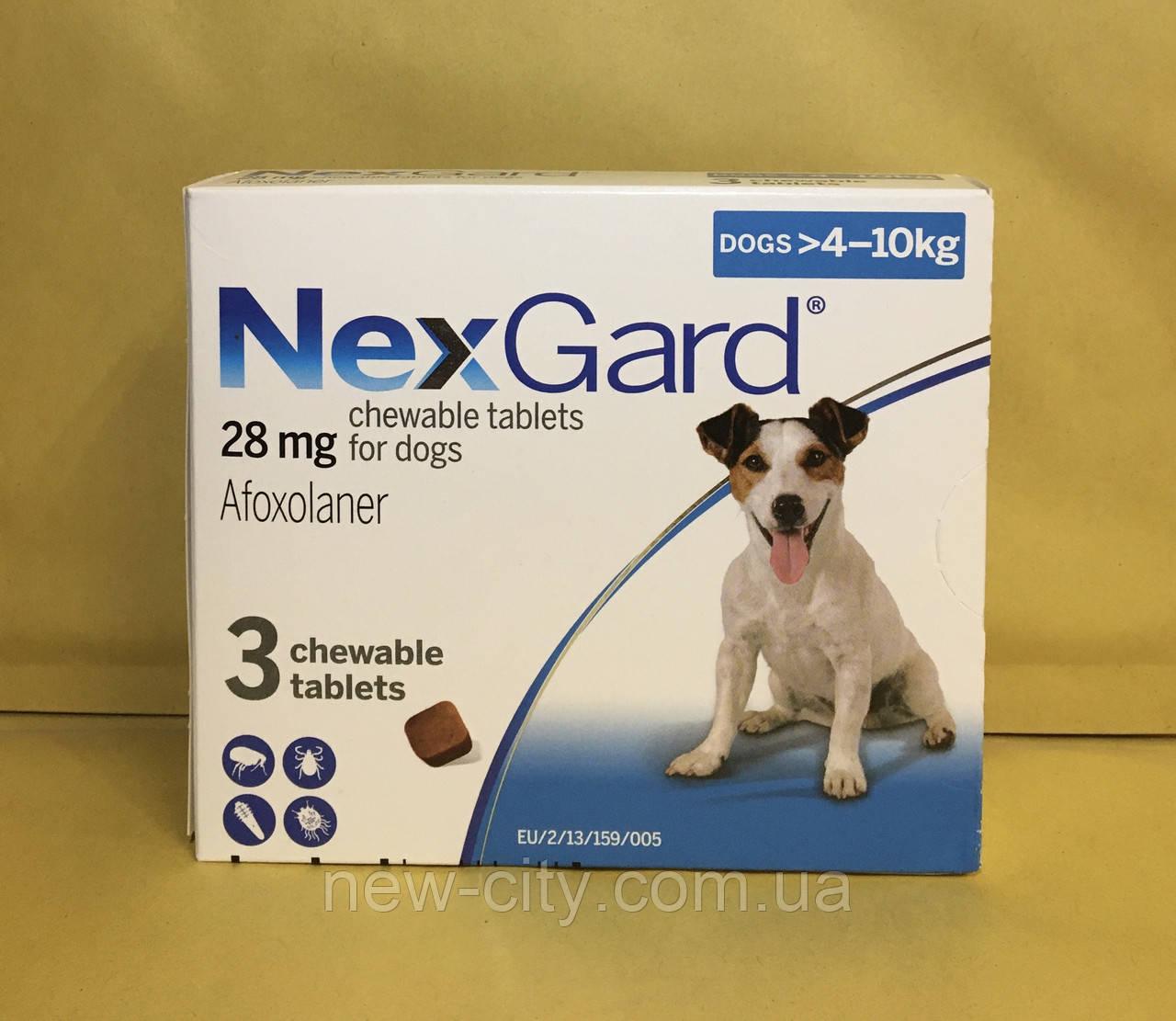 НексгарД*  NexGard  Жевательные таблетки для собак от блох и клещей 4-10кг 3 таб