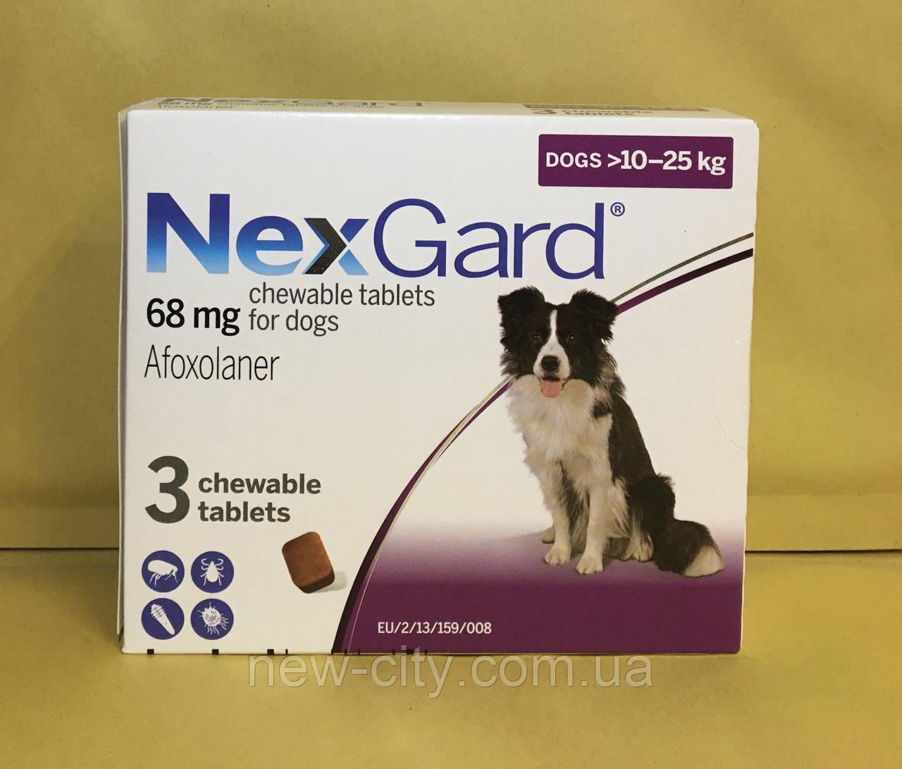 НексгарД*  NexGard  Жевательные таблетки для собак от блох и клещей 10-25кг 3 таб
