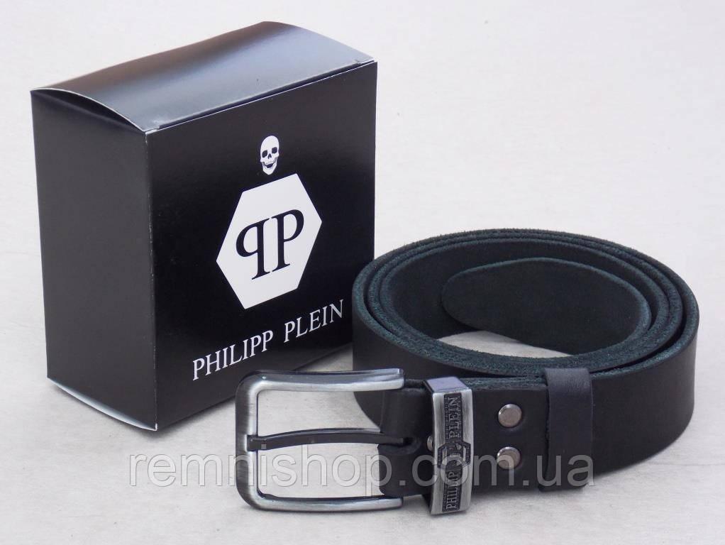 Кожаный мужской ремень Philipp Plein черный