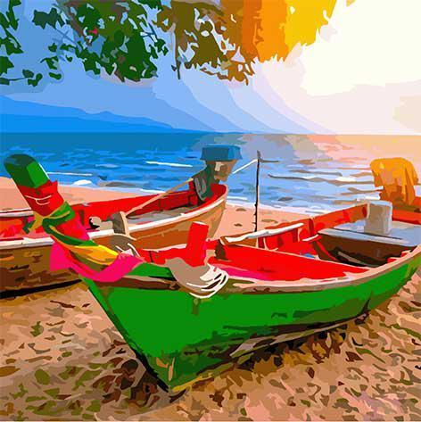 Картина рисование по номерам ArtCraft На побережье Таиланда 10515-AC 40х40 см Море, морской пейзаж, корабли