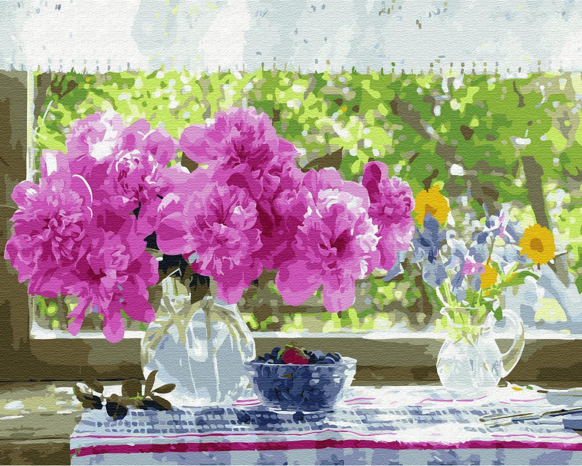 Картина рисование по номерам Никитошка Натюрморт на подоконнике BK-GX33258 40х50 см Цветы, букеты, натюрморты