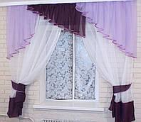 Кухонные шторы с ламбрекеном VR-Textil сиреневый-фиолетовый-белый 1.5 × 1,7 м (2016)
